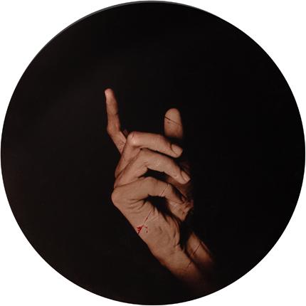 Estudio de la Anunciación de Murillo, 2006 (in collaboration with Graciela de Oliveira) Panel 2: 30 inches in diameter detail view of triptych archival pigment print