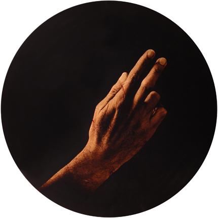 Estudio de la Anunciación de del Sarto, 2006 (in collaboration with Graciela de Oliveira) Panel 1: 30 inches in diameter detail view of triptych archival pigment print
