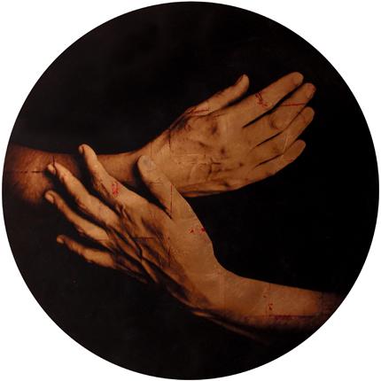 Estudio de la Anunciación de Champaigne, 2006 (in collaboration with Graciela de Oliveira) Panel 1: 39 inches in diameter detail view of triptych archival pigment print