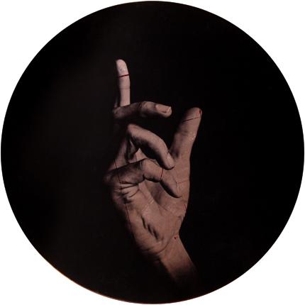Estudio de la Anunciación de Champaigne, 2006 (in collaboration with Graciela de Oliveira) Panel 2: 30 inches in diameter detail view of triptych archival pigment print
