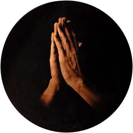 Estudio de la Anunciación de Reni, 2006 (in collaboration with Graciela de Oliveira) Panel 1: 39 inches in diameter detail view of triptych archival pigment print