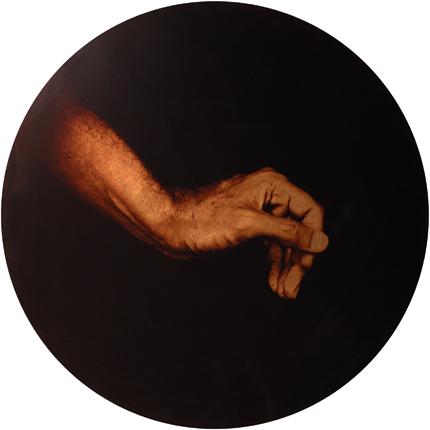 Estudio de la Anunciación de Botticelli, 2006 (in collaboration with Graciela de Oliveira) Panel 1: 30 inches in diameter detail view of polyptych archival pigment print