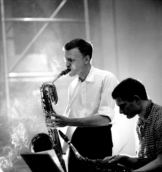Gerry Mulligan and Zoot Sims, NYC, 1955 silver print 20 x 16 inches from a limited edition of 30