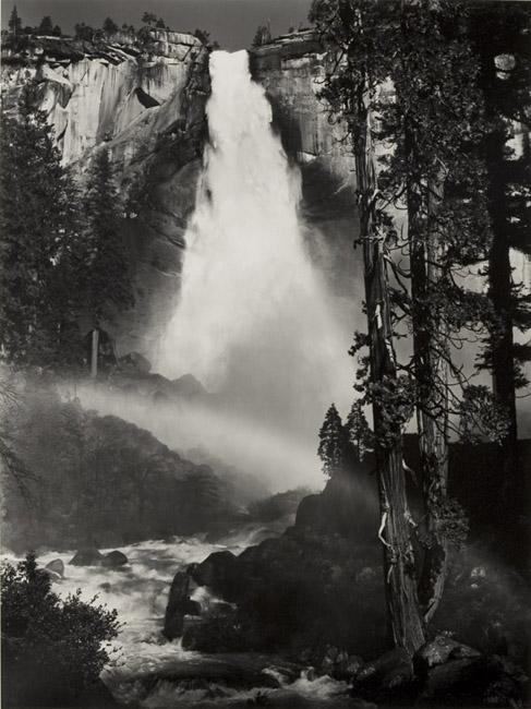 Nevada Fall, Yosemite National Park, California (Rainbow), 1950 silver print 18.75 x 14.25 inches
