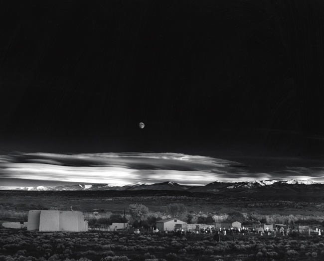 Moonrise, Hernandez, New Mexico, 1941 silver print 17.75 x 23 inches