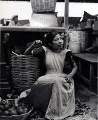 Women with Basket, Oaxaca , 1956  Silver print  9.5 x 7.75 inches
