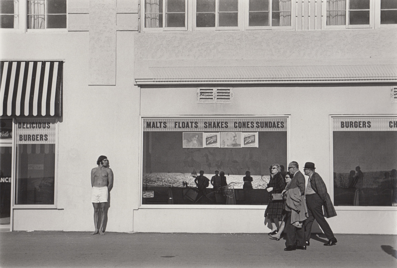 Untitled (People outside diner) Venice Boardwalk, CA , c. 1970's  Vintage silver print  8 x 10 inches