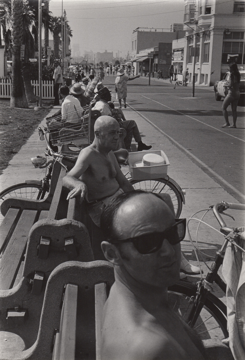 Untitled (men on benches), Venice, CA , c. 1970's  Vintage silver print  8 x 10 inches