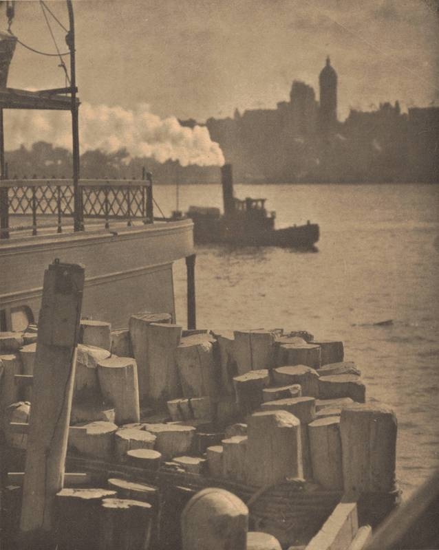 Alfred Stieglitz    City Across the River , 1910  Photogravure  11.5 x 7.75 inches  Published in Camera Work Vol. 36:7, October 1911