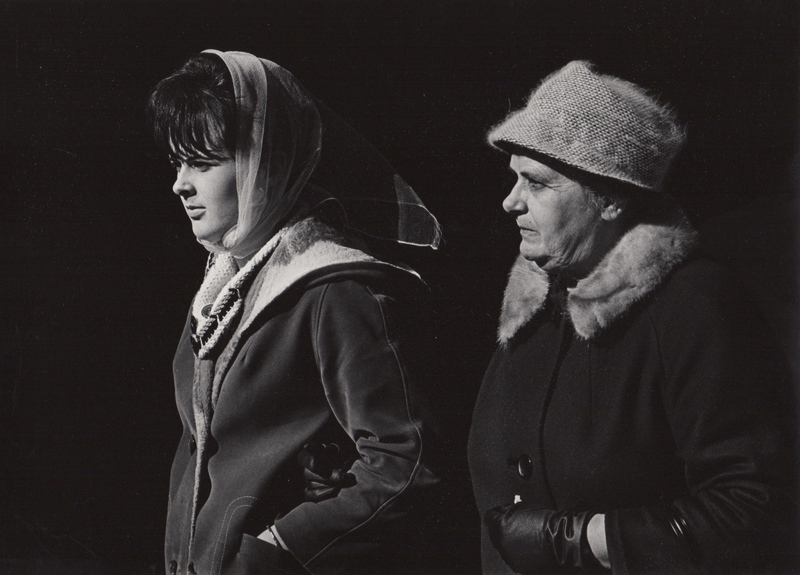 Untitled (street scene with two women) , c. 1960's  Vintage silver print  8 x 10 inches