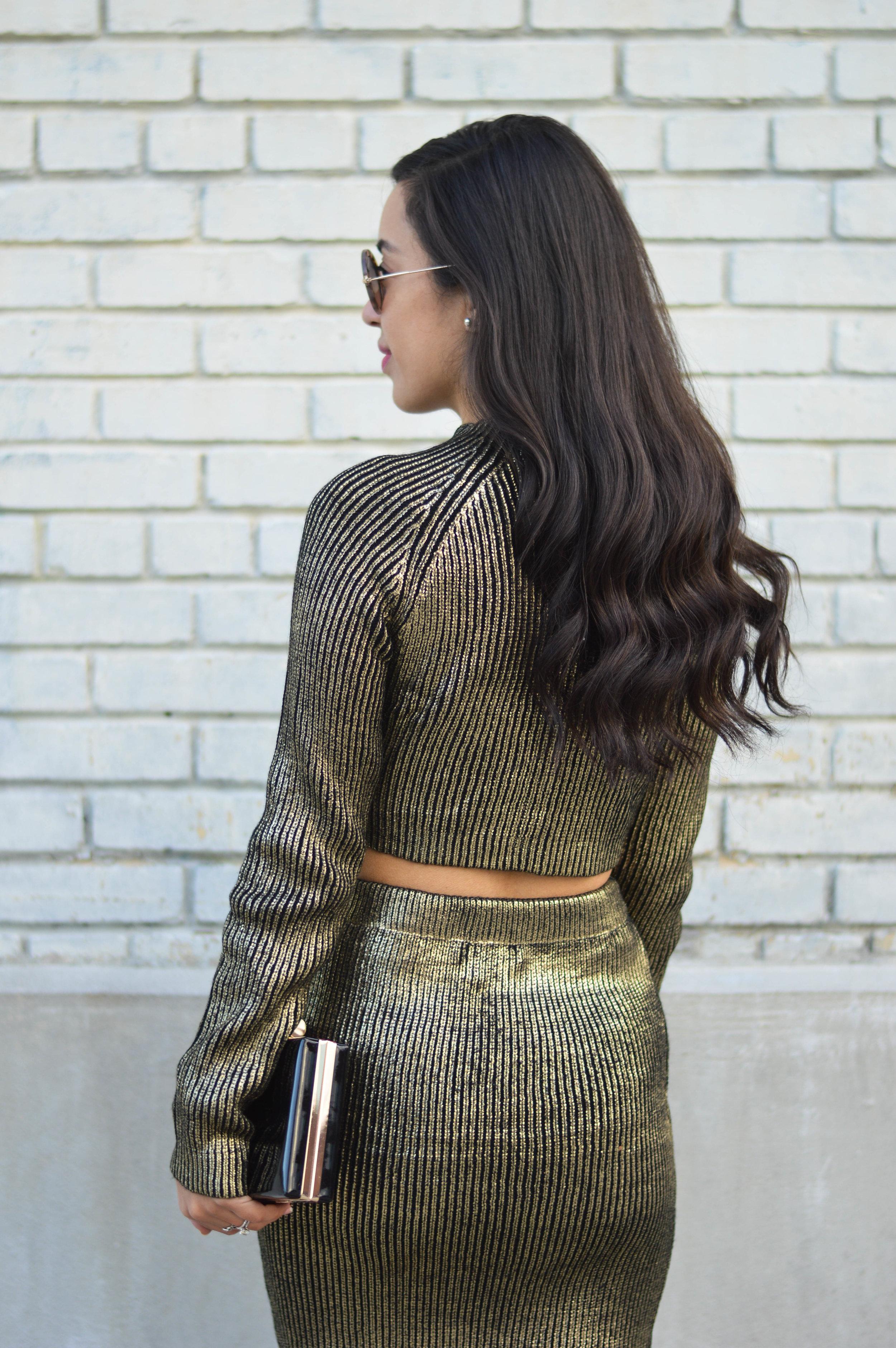 tobi metallic sweater set