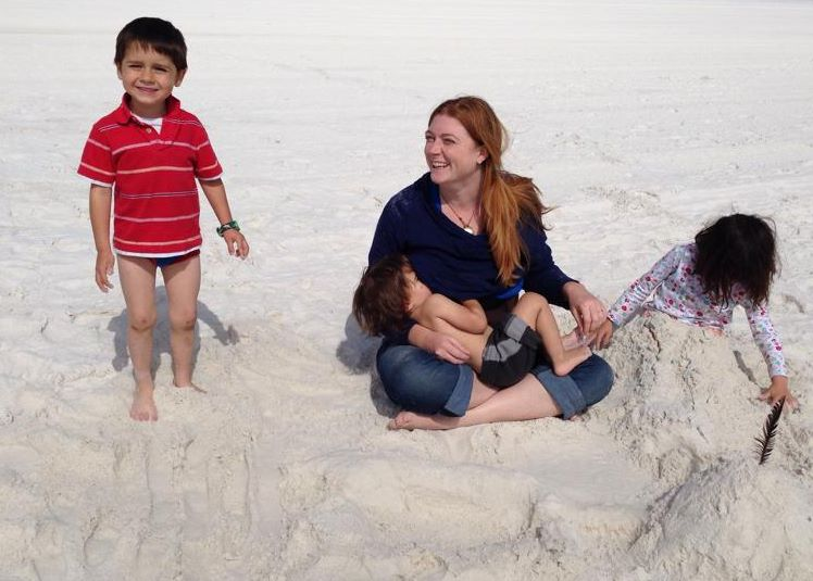 Early spring at the beach and still nursing baby three.  Note, I still have hair.