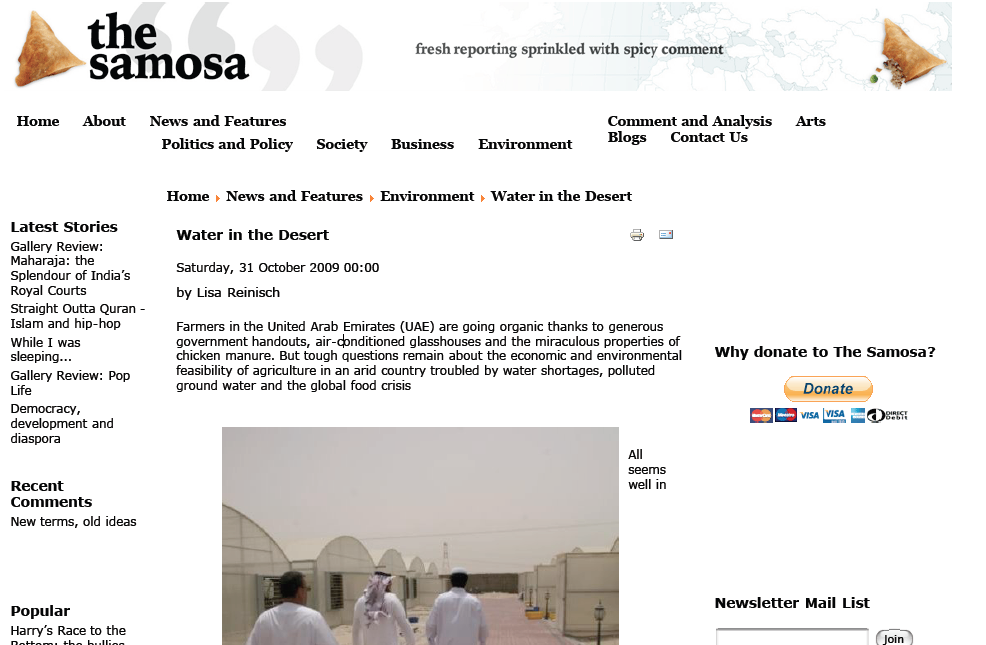 This article is based on parts of my MA International Journalism thesis on environmental journalism in the UAE. It explores the rising importance of organic farming and water conservation in a desert country with extremely limited supply of both water and soil. Click image to open PDF.