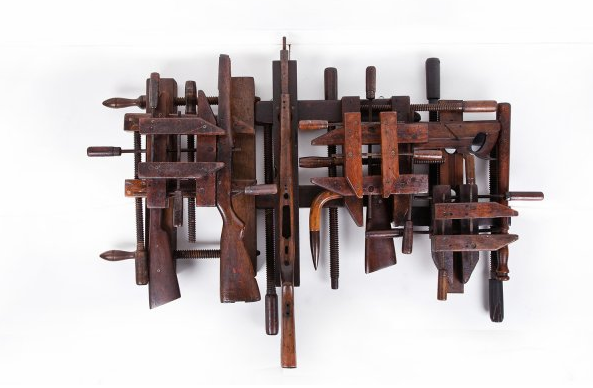 Carbon 12 knows a thing or two about putting together a stark display and this exhibition is a lesson in how to make the most of a gallery space. Rahbar's latest pieces tread a precarious line between ideological symbolism and personal history. Pieces like Swarmed (pictured), bring together wooden parts of old guns and farm equipment, while others feature body parts cast in bronze. Apart from the startling poignancy of Rahbar's work, I also find the nuanced titling of her works especially pleasing, adding an extra, poetic layer to works that are already dense with possibilities of meaning.