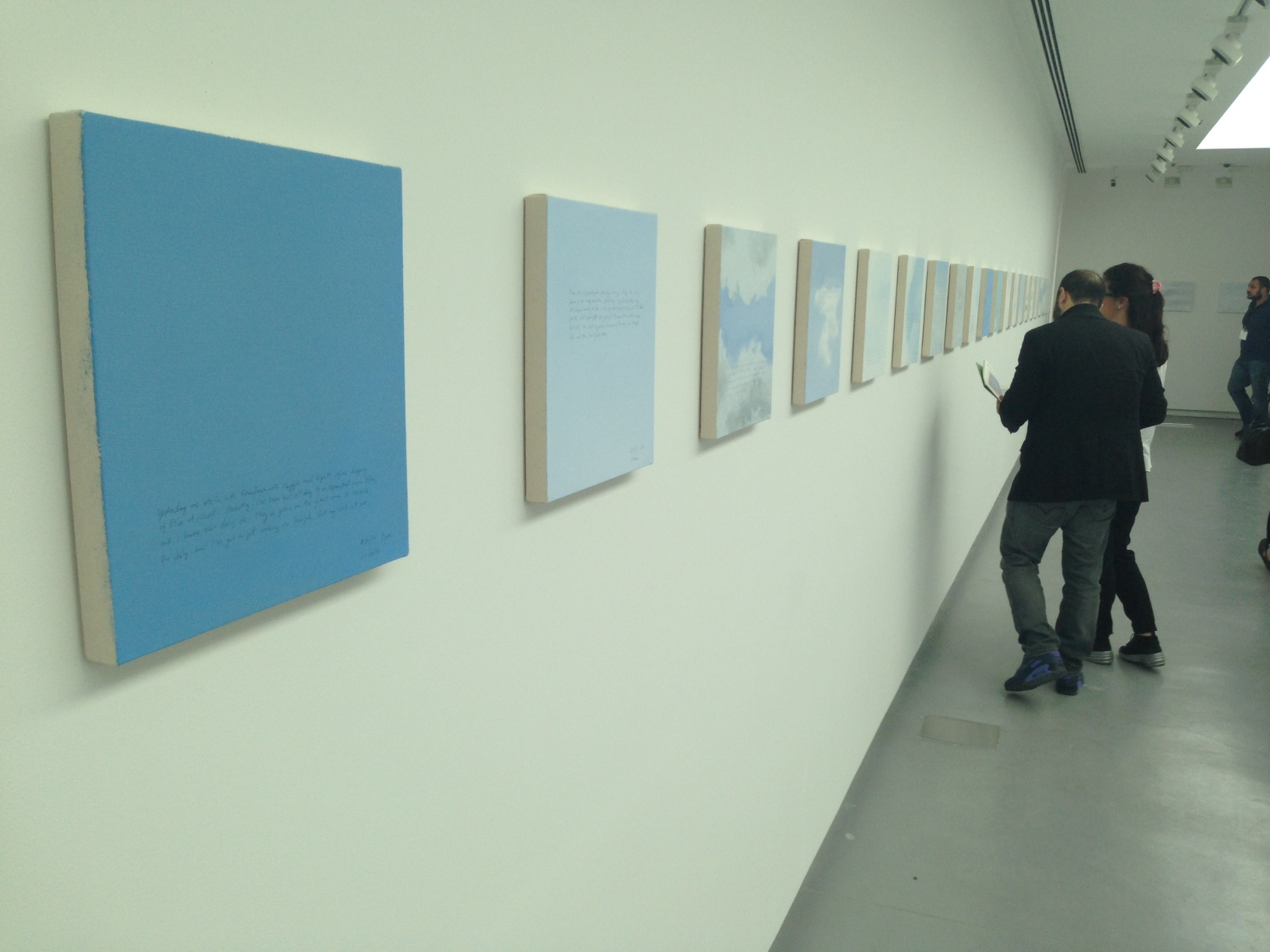 The artist has been painting small square canvasses of the sky every Sunday since 2001.
