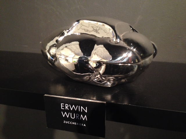 Zuccheriera, a hand-crafted silver sugar box by Wiener Silber Manufactur in collaboration with Austrian artist Erwin Wurm, based on his well-known Fat Convertible sculptures.