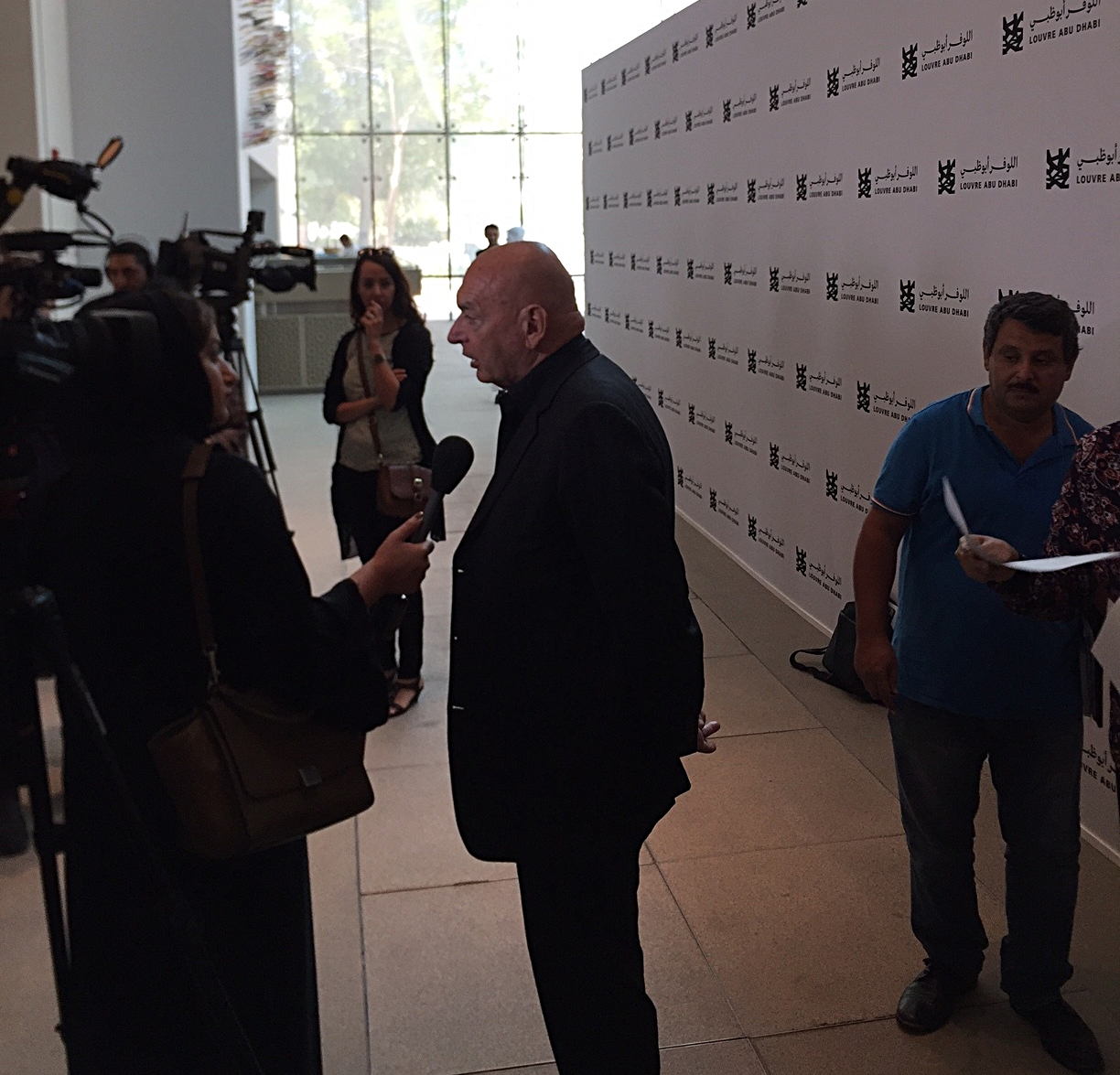 Jean Nouvel, architect of the Louvre Abu Dhabi, giving interviews after the announcement of the museum's opening date (11 November 2017).