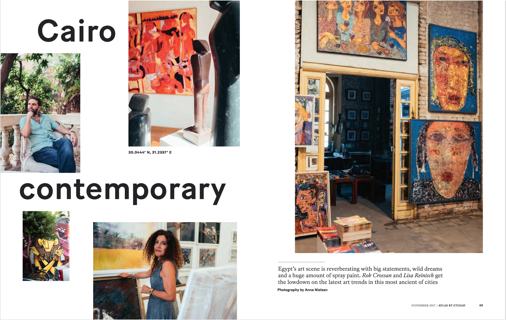 A feature with Rob Crossan on Cairo's contemporary art scene for the November 2017 edition of Atlas, the Etihad inflight title. Great imagery by UAE-based photographer Anna Nielsen. Go to page 64 of the e-magazine to access the full article.