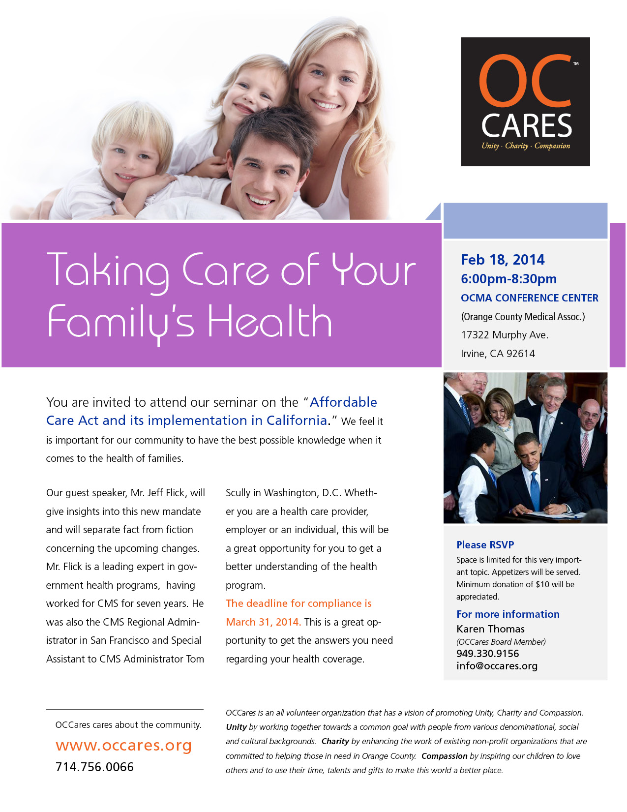 OCCares Flyer - Taking Care of your Health