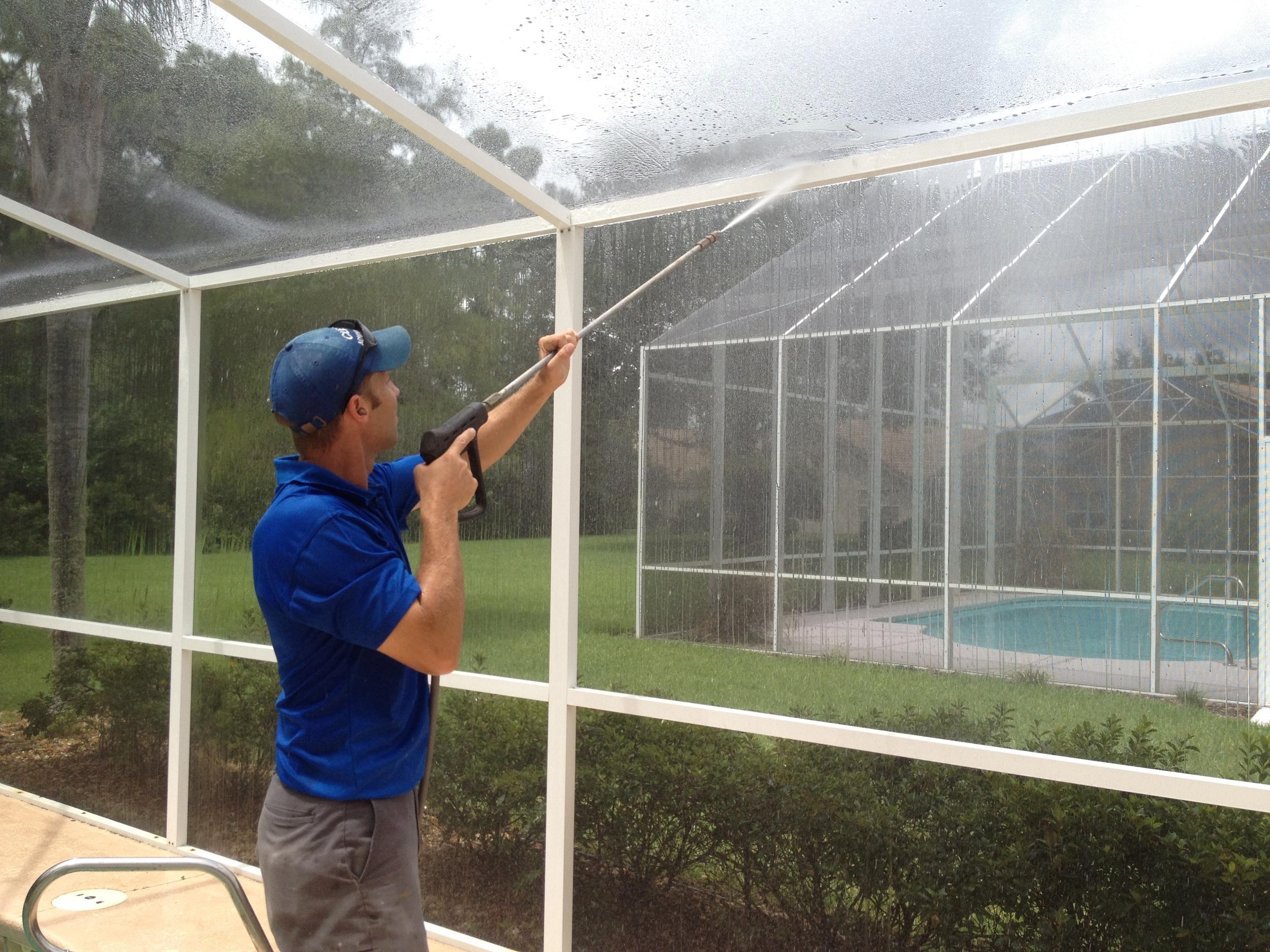 pressure wash pool screen