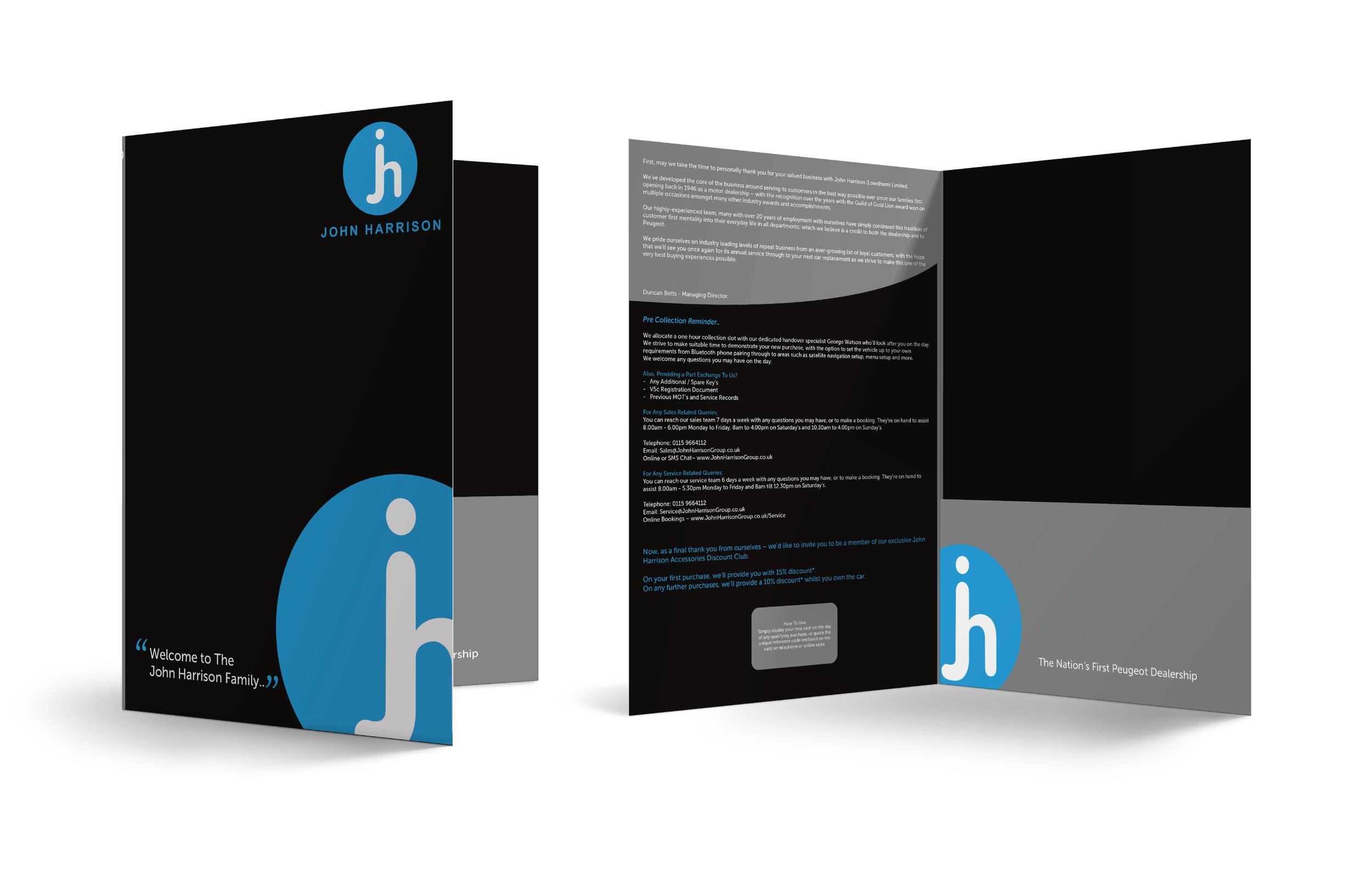 John Harrison Peugeot Presentation Folder Design