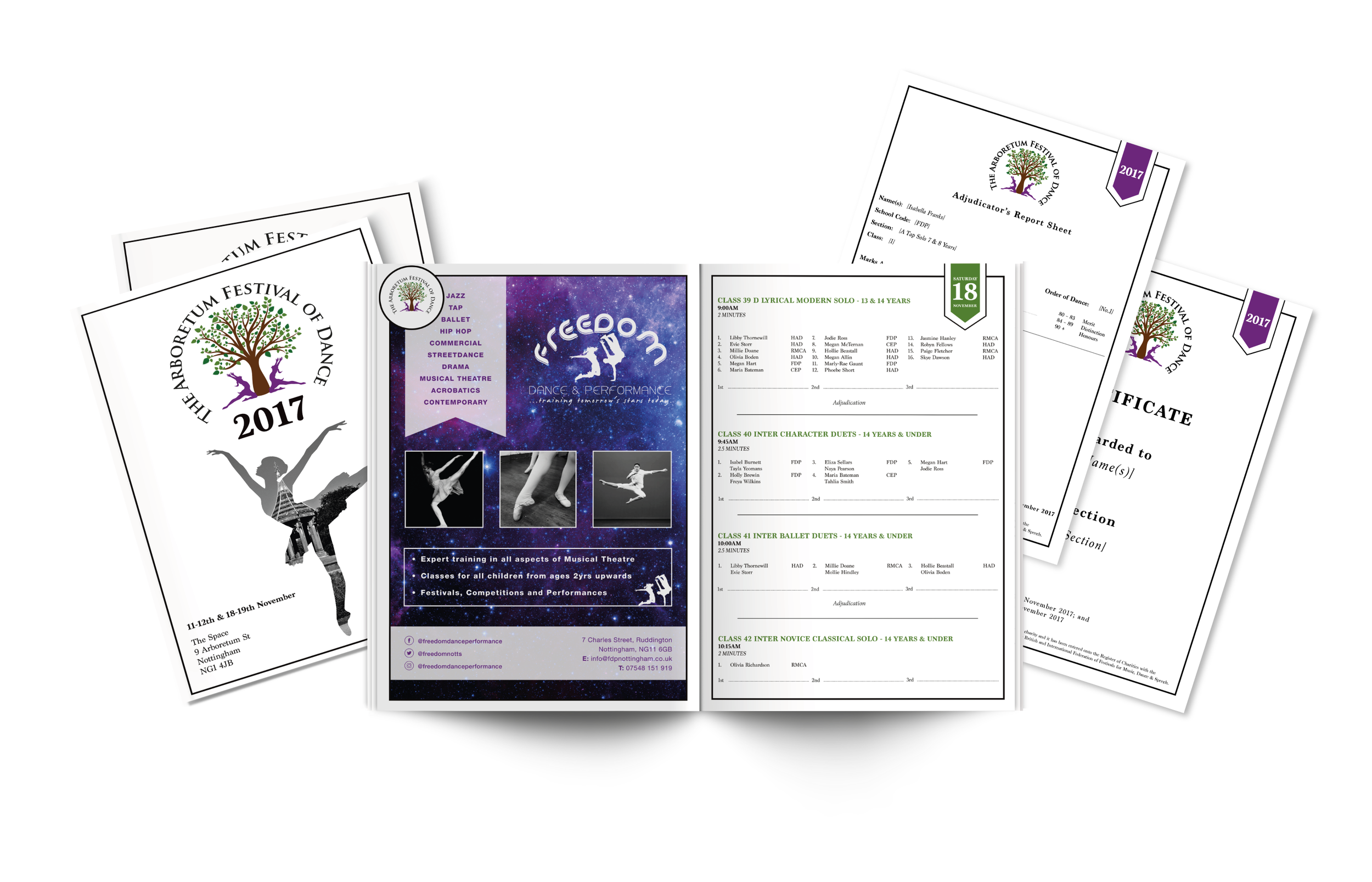 Dance Festival Programme, Certificate & Report Card Design