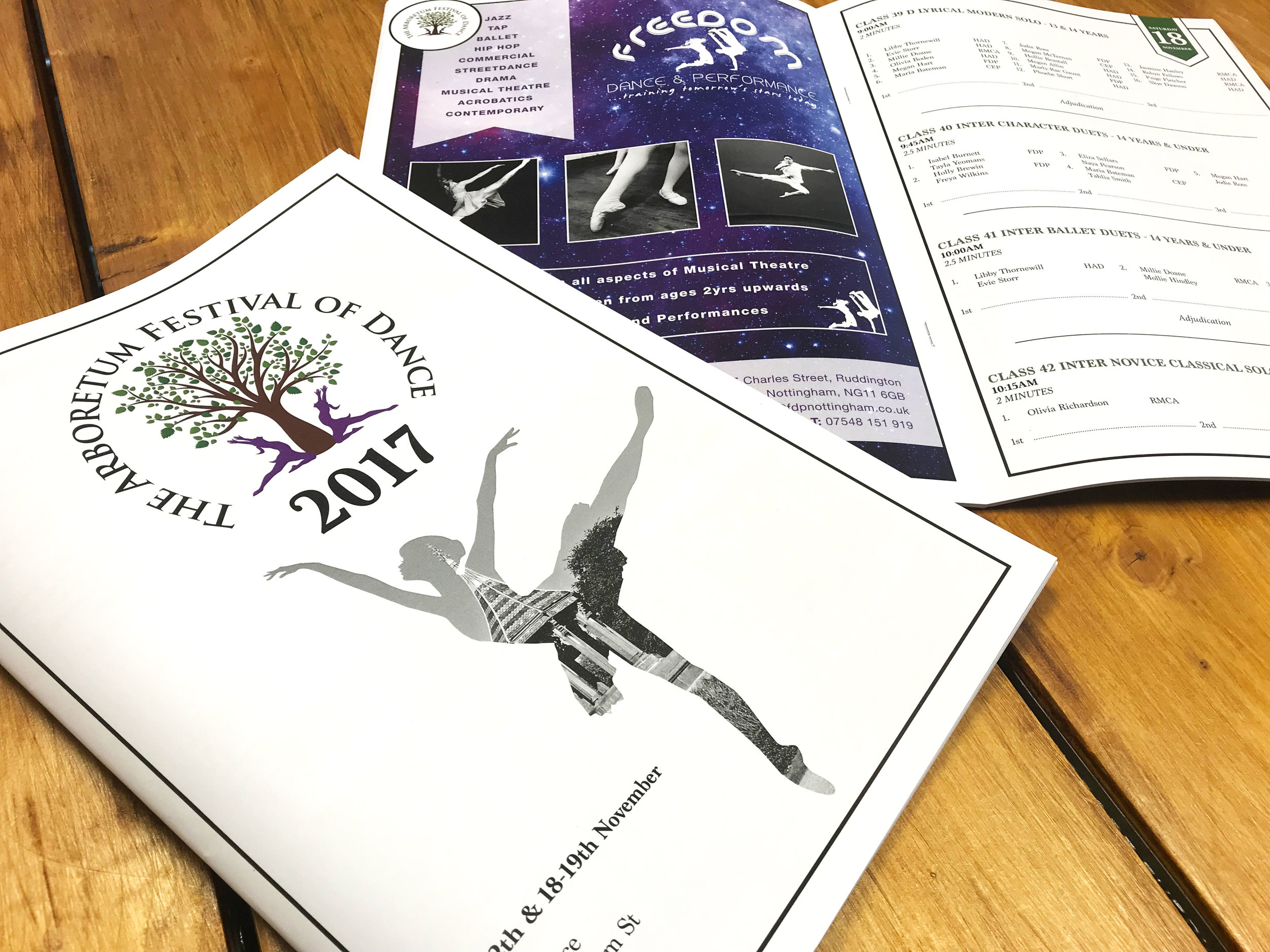 Printed Dance Festival Programme & Certificates