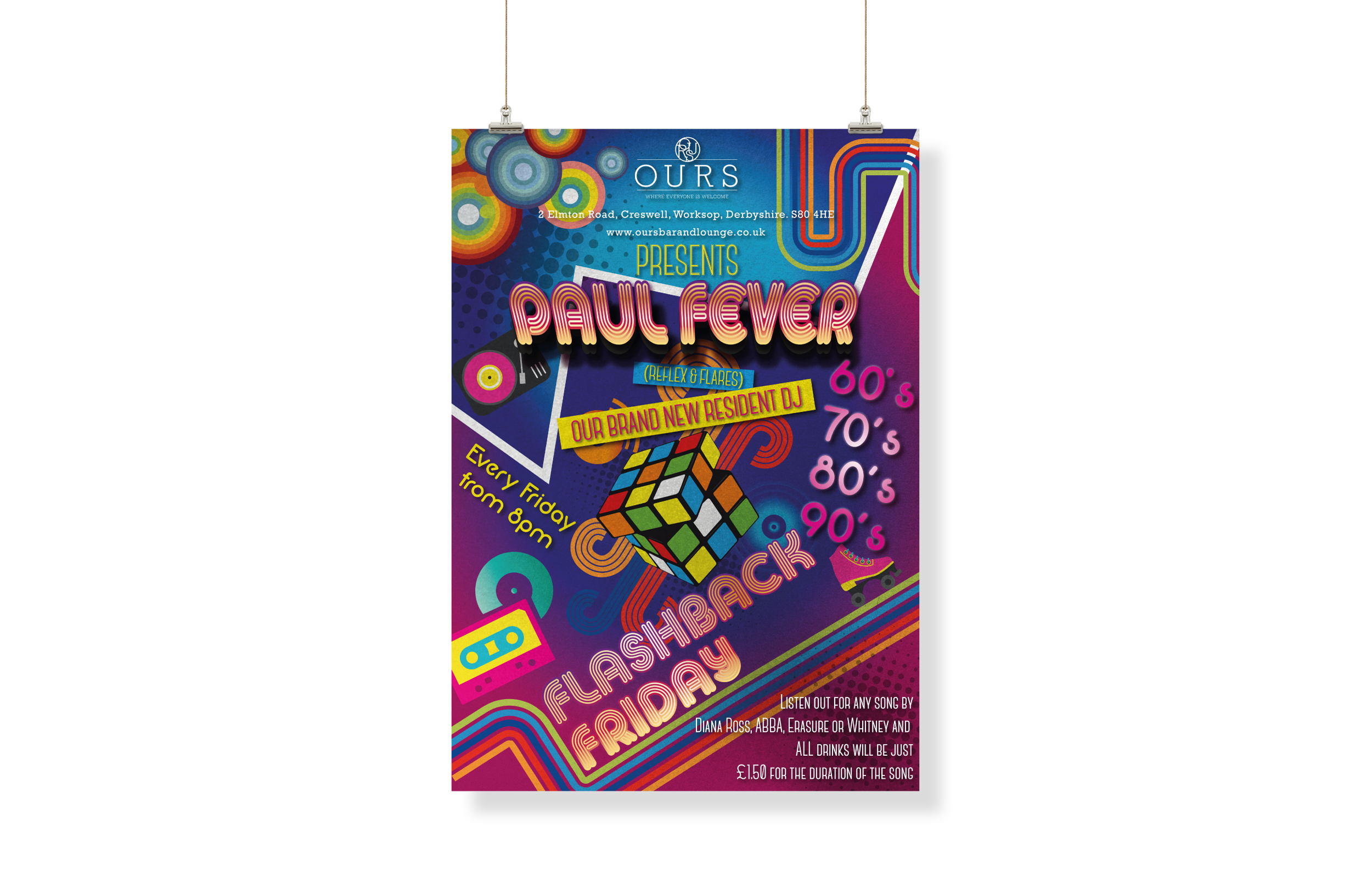 OURS Bar & Lounge - New Flashback Friday Poster Design