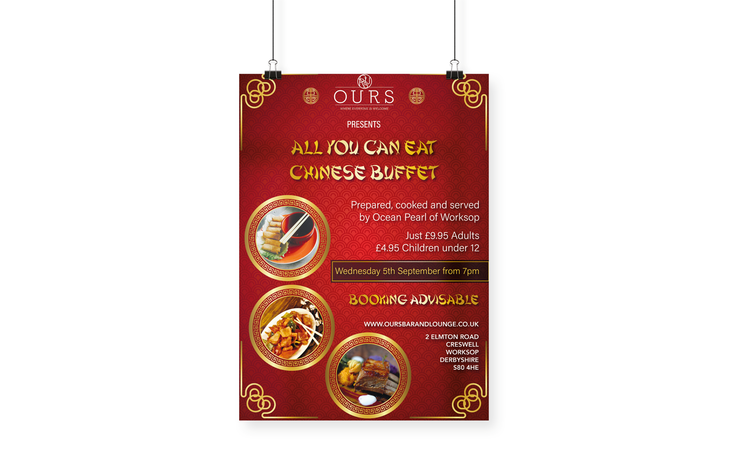 OURS Bar & Lounge Chinese Buffet Poster Design and Print