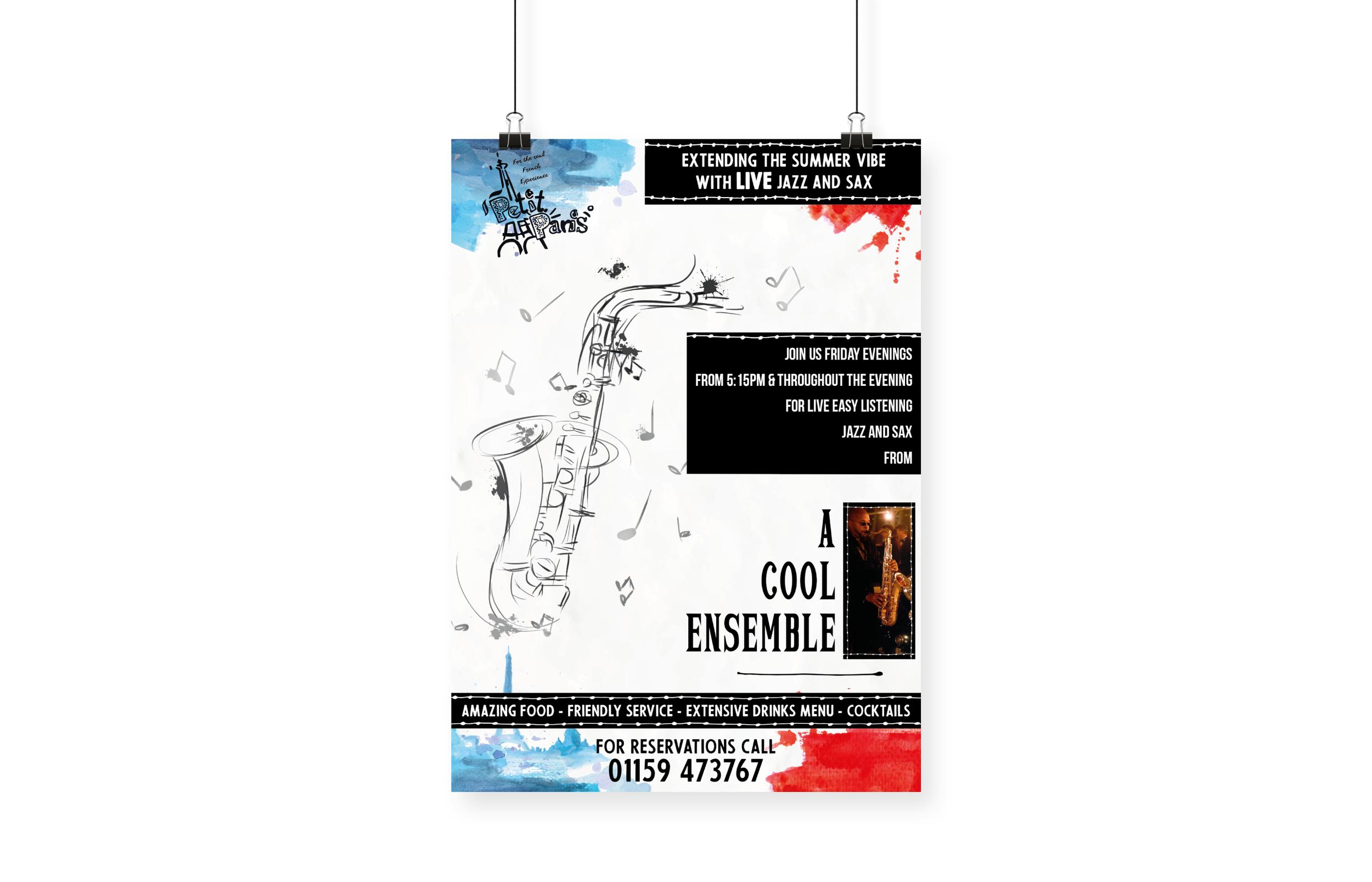 Petit Paris Saxophone Event Poster Design and Print