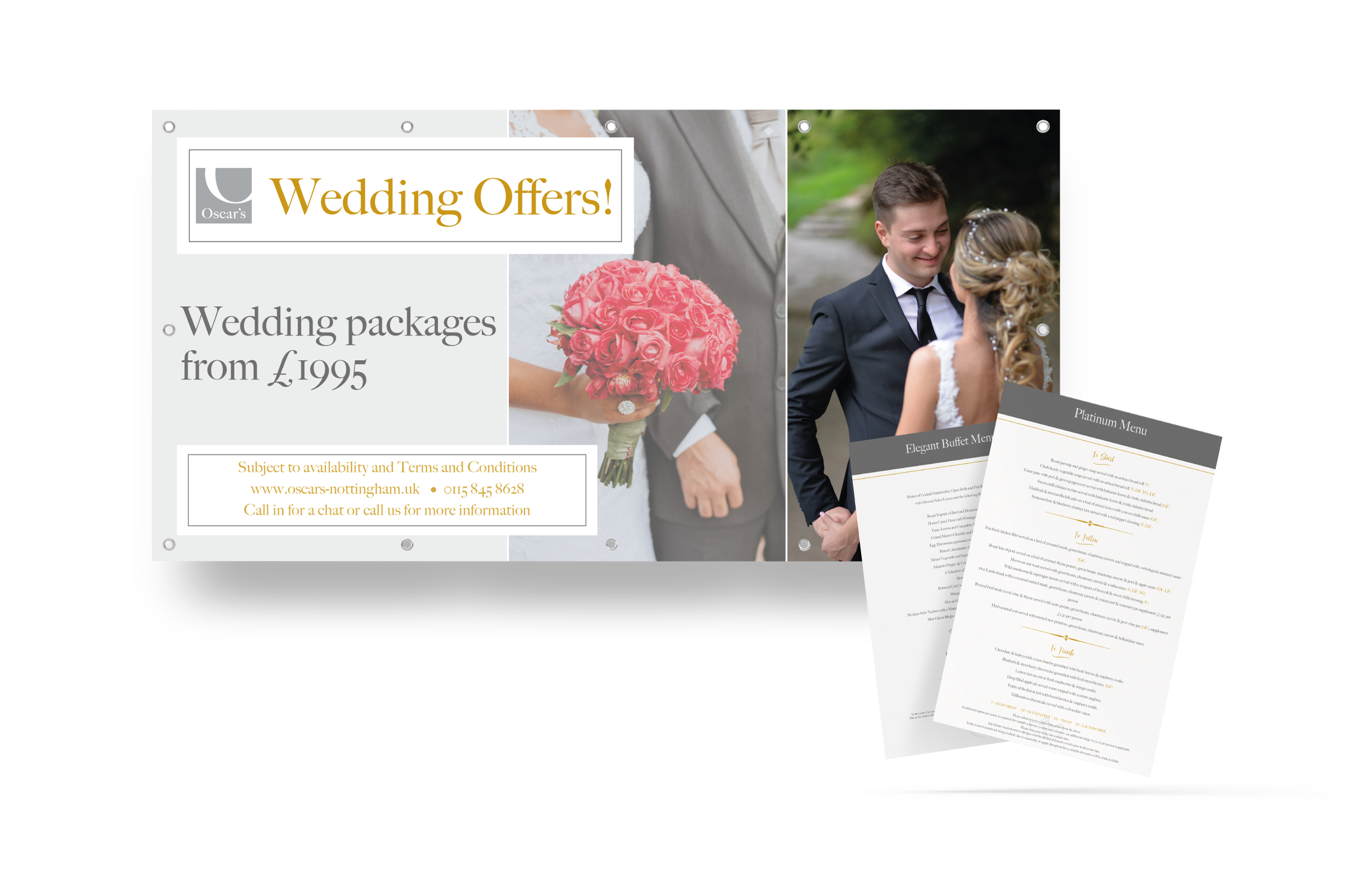 Wedding Package PVC Banner and Handout Design and Print for Oscars Nottingham