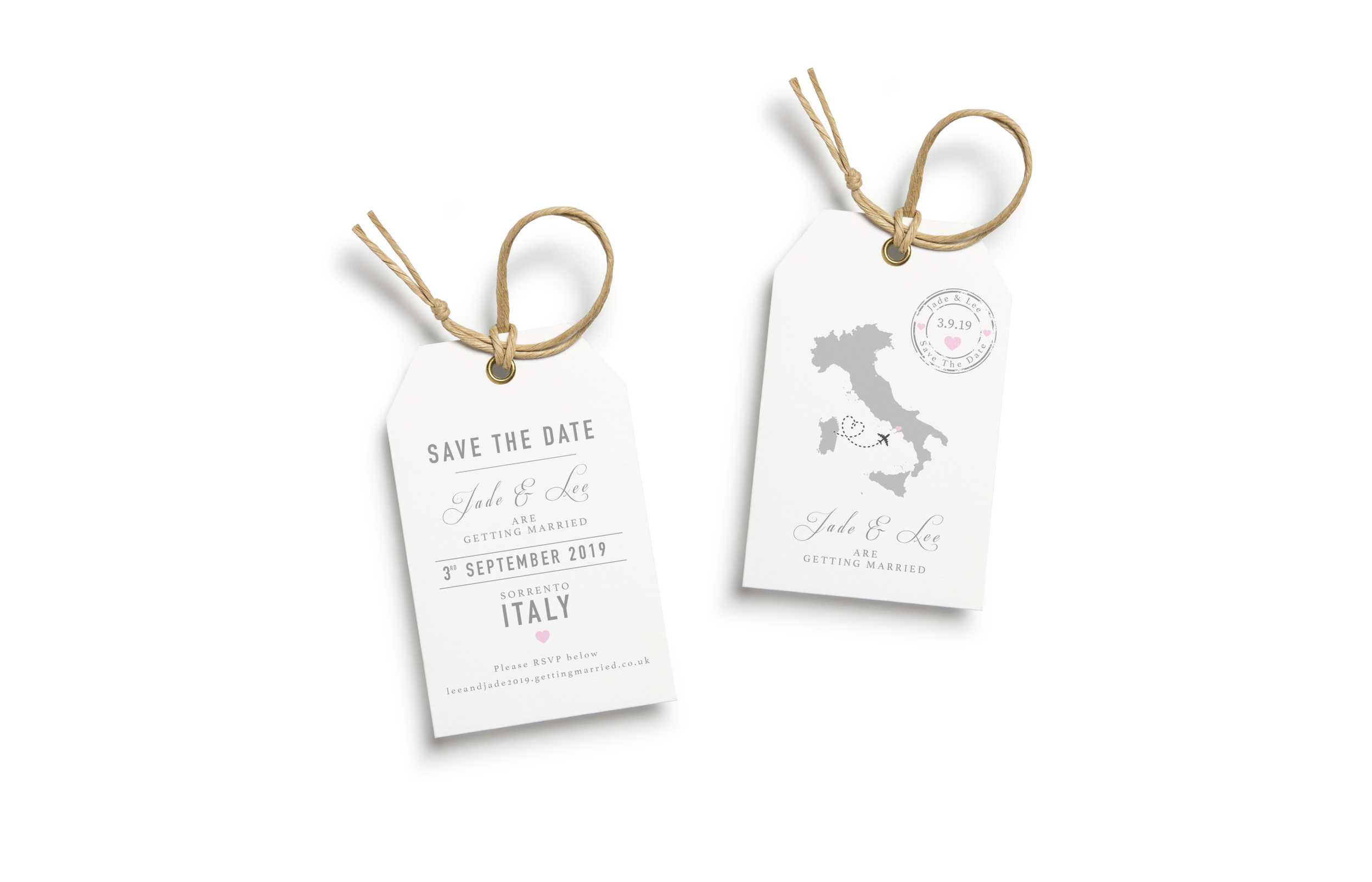 Wedding Save the Date Luggage Tag Design and Print