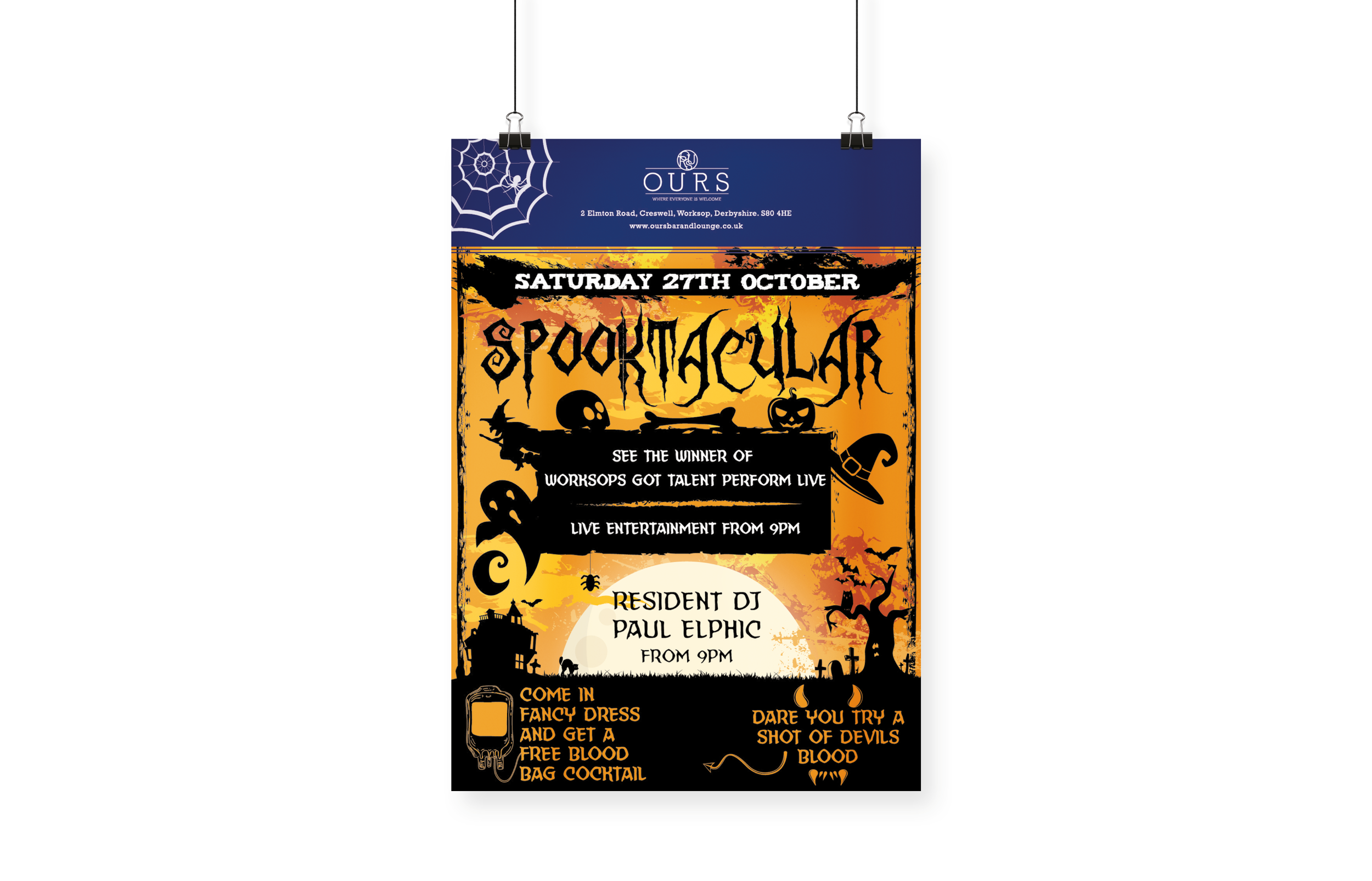 OURS Bar & Lounge Halloween Poster Design