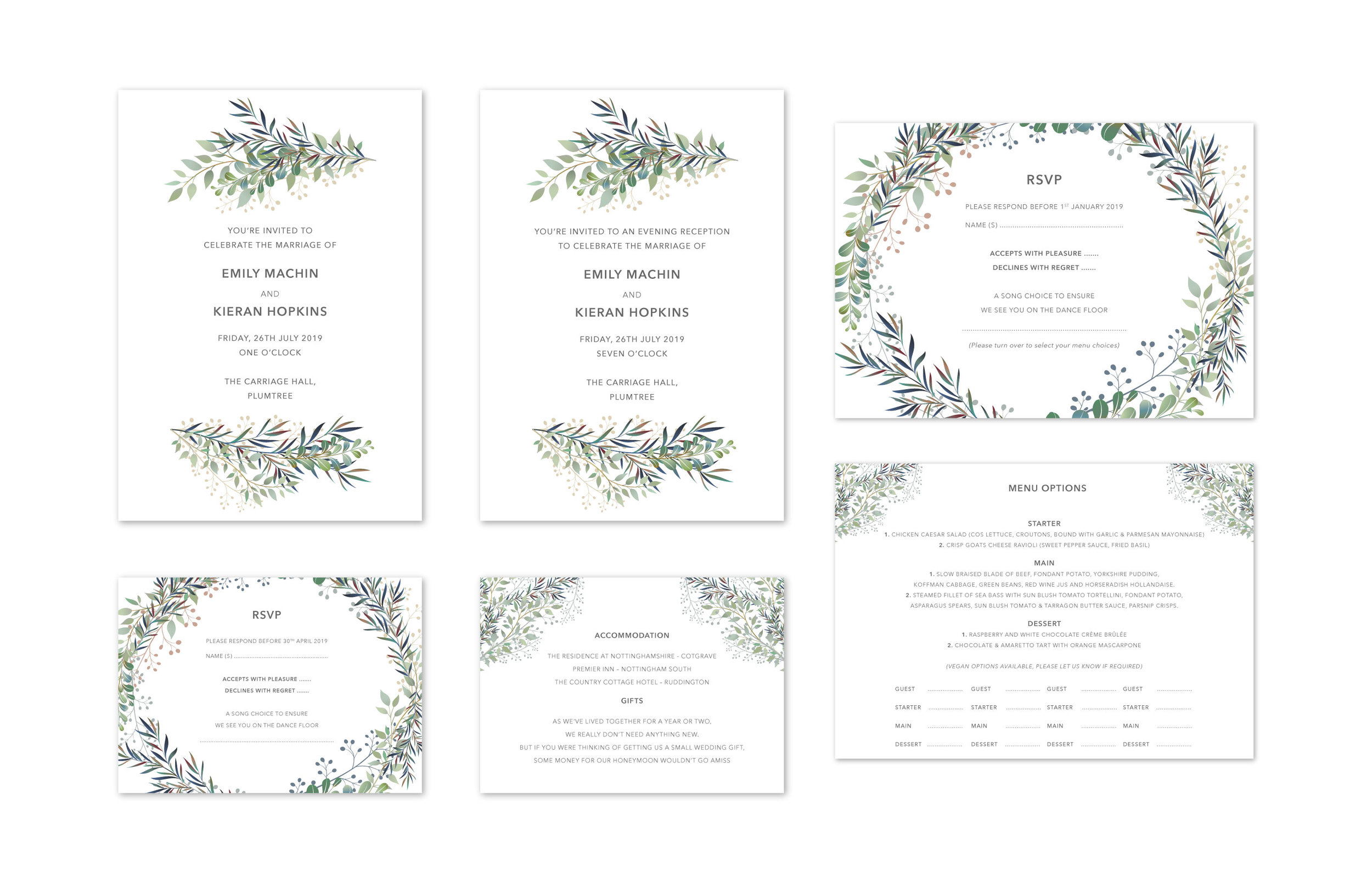 Botanical Wedding Stationery Design and Print