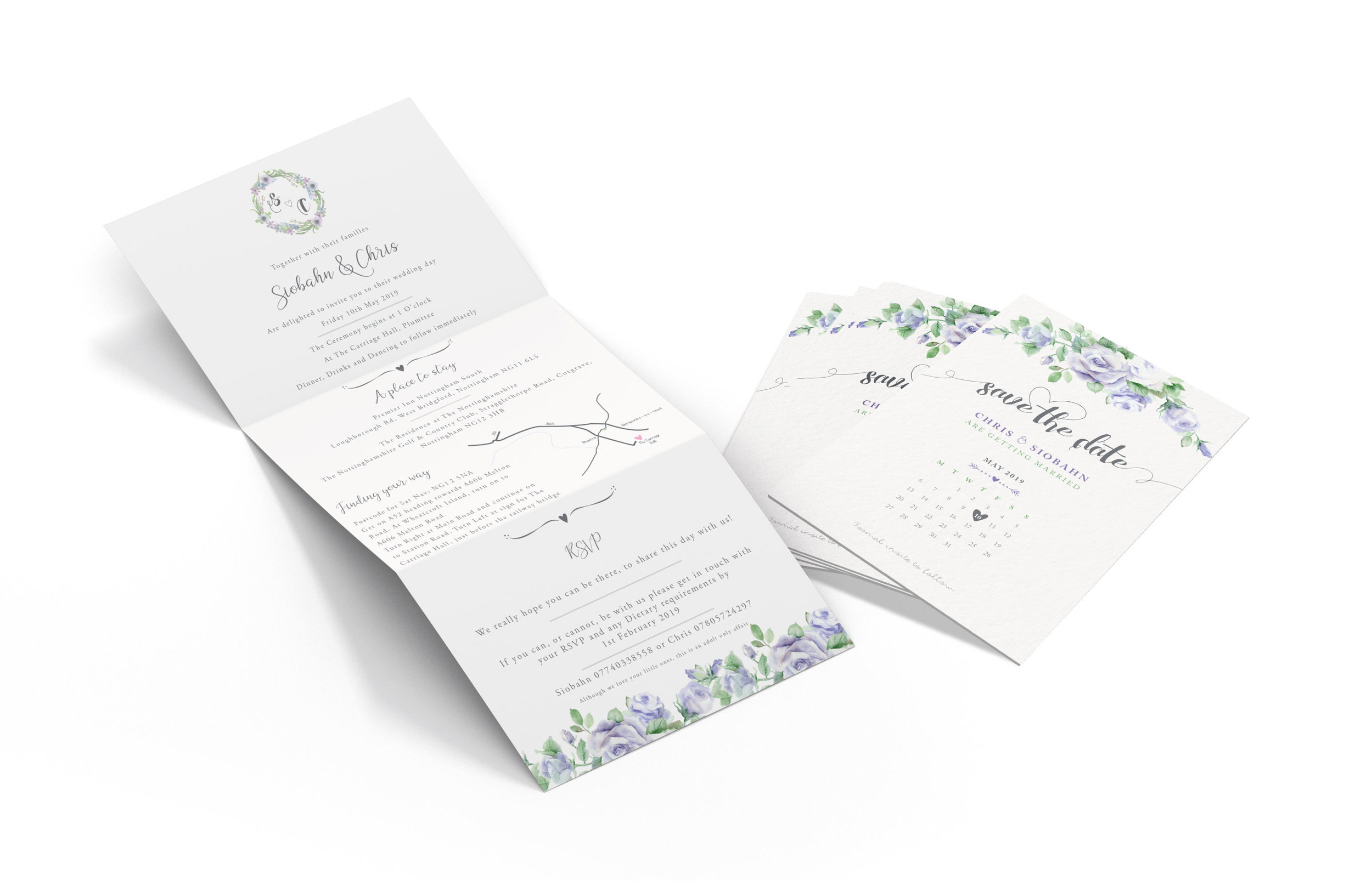 A6 Z-fold Wedding Invitations and A6 Save the Date Design and Print
