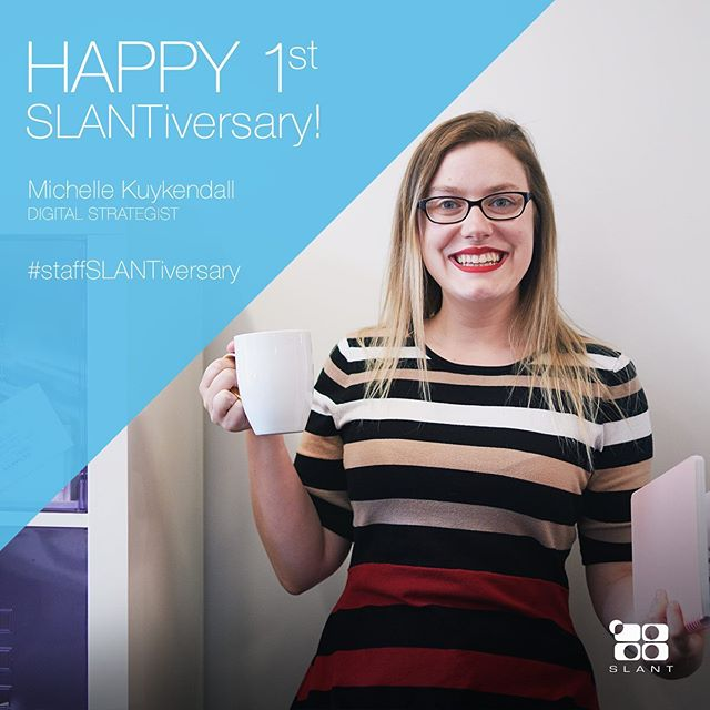 Over the past year, we've noticed that @bodybycreamcheese is better than the rest of us at: taking notes, handwriting, cooking, digital strategy and well, life in general. Happy 1 year SLANTIVERSARY Michelle...thanks for being awesome!! . . . #staffslantiversary #agencylife #marketing #branding #uxui #yeahthatgreenville