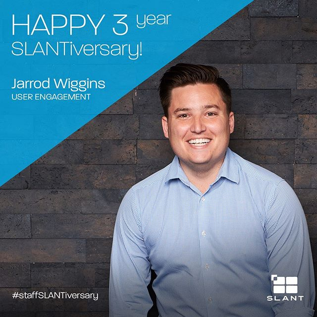 He's been keeping our workload balanced, our business engaged and our pizza lunch skills on point for three whole years! Happy 3 year SLANTiversary, @jarrodwiggins ... thanks for being awesome! . . . #staffslantiversary #agencylife #marketing #branding #uxui #yeahthatgreenville