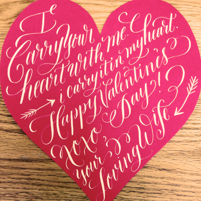 This card was lovely hand cut into a heart shape and adorned with white calligraphy. Last year, I did a similar heart shape with calligraphy but didn't hand cut anything.