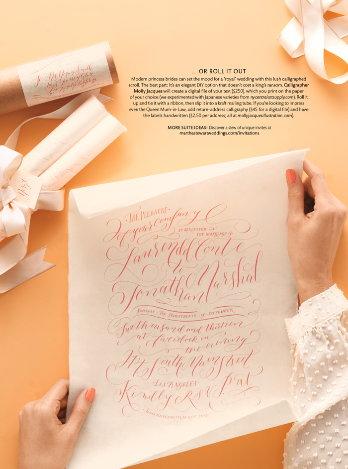 Calligraphy by  Molly Jacques   Story photographs by Kate Mathis/ Martha Stewart Weddings,SpecialReal Weddings Issue2013.   Copyright © 2013.