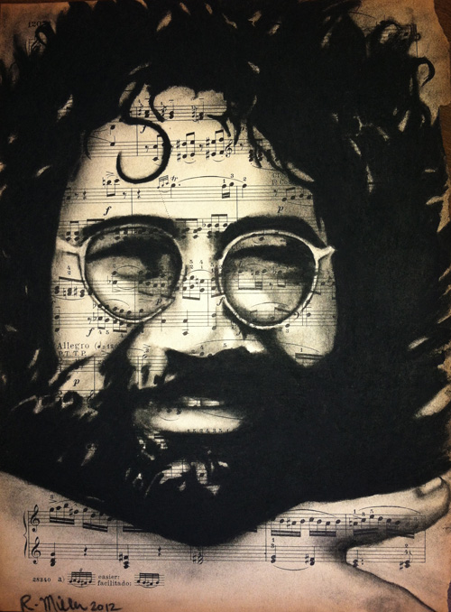 "Jerry Garcia, 2012   Charcoal on antique sheet music, 9"" x 12"""