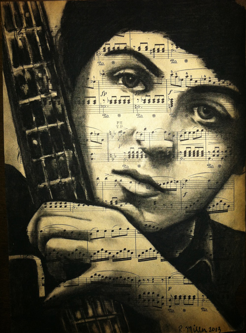 "Paul McCartney, 2013     Charcoal on antique sheet music, 9"" x 12"""