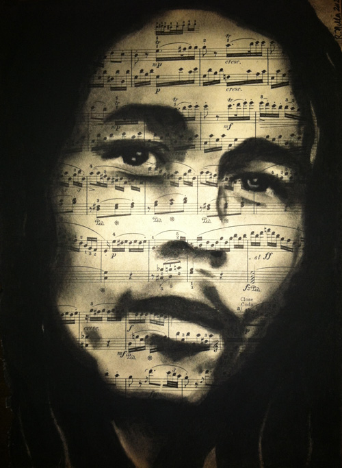 "Bob Marley, 2013     Charcoal on antique sheet music, 9"" x 12"""