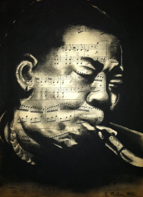 "Clarence Clemons, 2012   Charcoal on antique sheet music, 9"" x 12"""