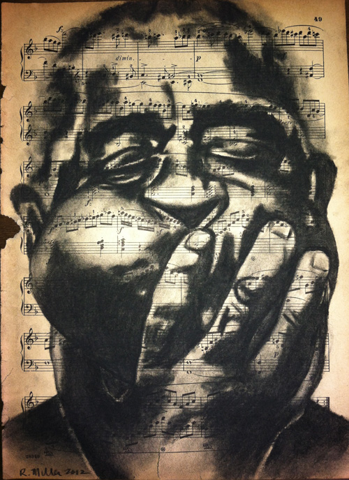 "Dizzy Gilespie, 2012   Charcoal on antique sheet music, 9"" x 12"""