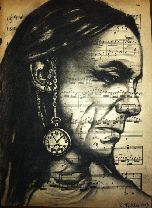 "Iggy Pop, 2013    Charcoal on antique sheet music, 9"" x 12"""