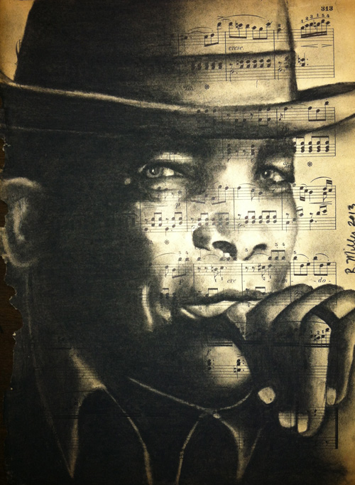 "John Lee Hooker, 2013   Charcoal on antique sheet music, 9"" x 12"""