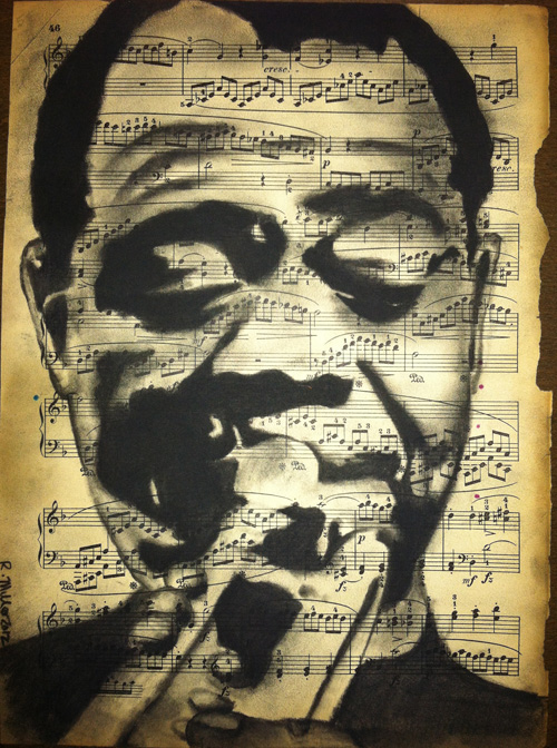 "Louis Armstrong, 2012   Charcoal on antique sheet music, 9"" x 12"""