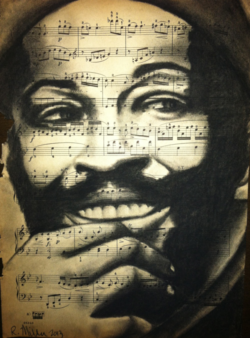 "Marvin Gaye, 2013   Charcoal on antique sheet music, 9"" x 12"""