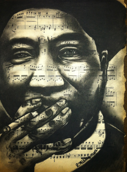 "Muddy Waters, 2012   Charcoal on antique sheet music, 9"" x 12"""