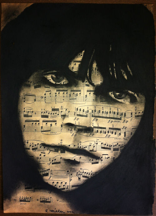 "Neil Young, 2012   Charcoal on antique sheet music, 9"" x 12"""